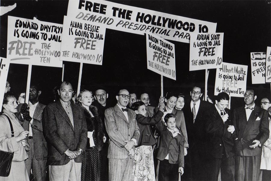 bw photo of hollywood 10 protest